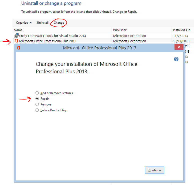 reinstall office2013
