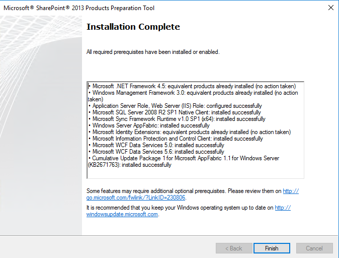 Install SharePoint Foundation 2013 on Windows Server 2016 Solution